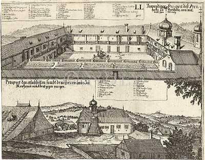 Inwendiger Prospect deß Freyhoffs zu Pertholtz von mitnacht gegen Mittag. / Prospect der Glaßhitten sambt dem Herrnhaus zu Reichenau von Abent gegen morgen.