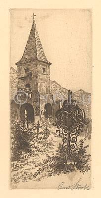 links unten im Bild, gedr. 65 Spitz (an der Donau, Wachau), polit. Bez. Krems, Niederösterreich; sogenannter Pastorenturm (auch Prädikantenturm oder Predigerturm) auf dem Friedhof, Ansicht von Nordosten mit schmiedeeisernem Grabkreuz im Vordergrund von rechts unten im Bild, signiert, mit Bleistift Ernst Strobl links unten außerhalb des Bildes Nr. 65.