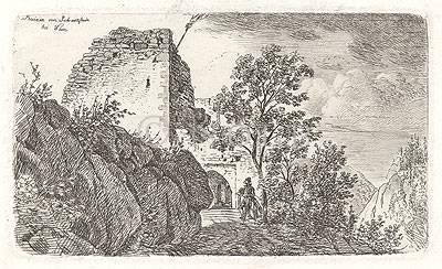 """links oben im Bild, gedr. Ruinen von Johannstein bei Wien Sparbach, Gem. Hinterbrühl, polit. Bez. Mödling, Niederösterreich; Burgruine Johannstein (ehem. """"Schnepfenstein""""), Ansicht"""