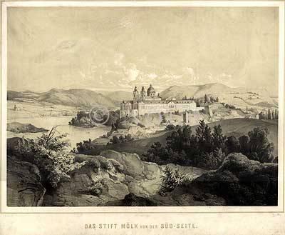 Das Stift Mölk von der Süd-Seite. von n.d. Natur gez. v. Brioschi. / ged. J. Rauh in Wien. / lith. v. Imre.