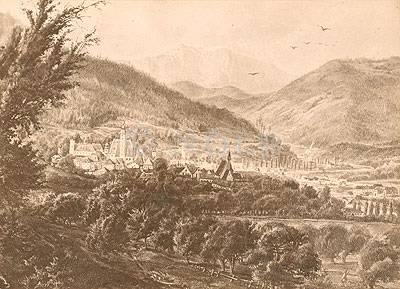 Scheibbs. Gesamtansicht, Blick von Norden im Jahr 1880, nach einem Gemälde von Carl von Zellenberg von rev., gedr. Aufgenommen nach der Natur von F. Mark in Scheibbs