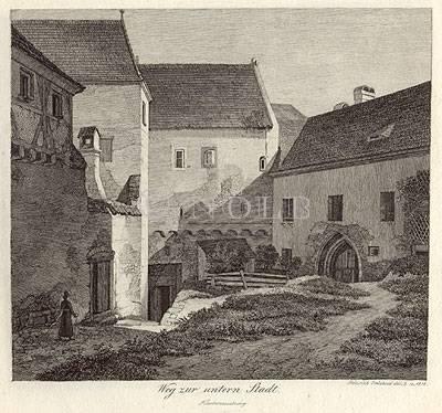 Weg zur untern Stadt. Klosterneuburg von Heinrich Reinhold del. & sc. 1818
