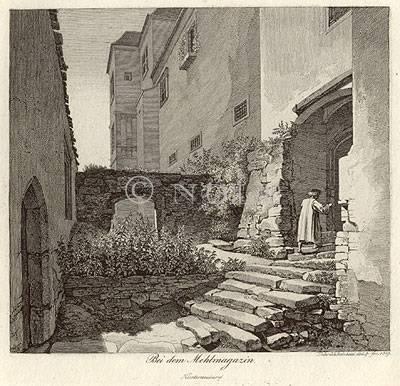 Bei dem Mehlmagazin. Klosterneuburg von Heinrich Reinhold del. & fec. 1819.